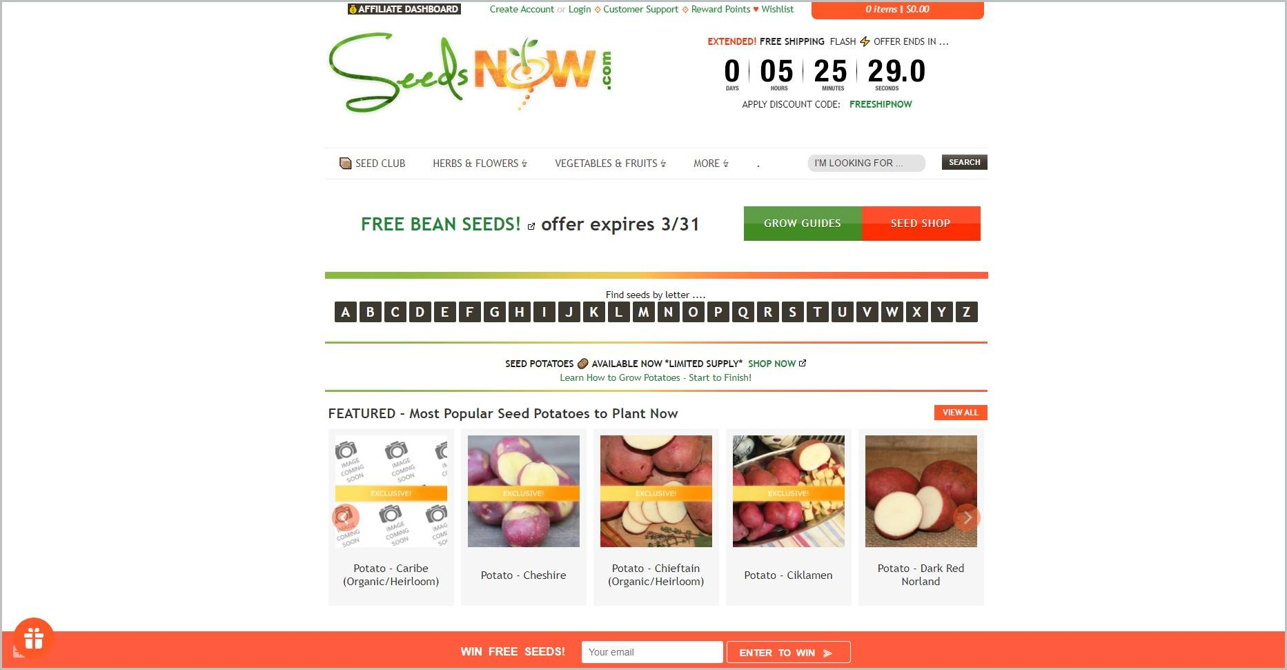 screenshot of SeedsNow homepage with a white header bearing the website's name and days counter for the flash sale, underneath is the main navigation menu, it also showcases images of some of their products