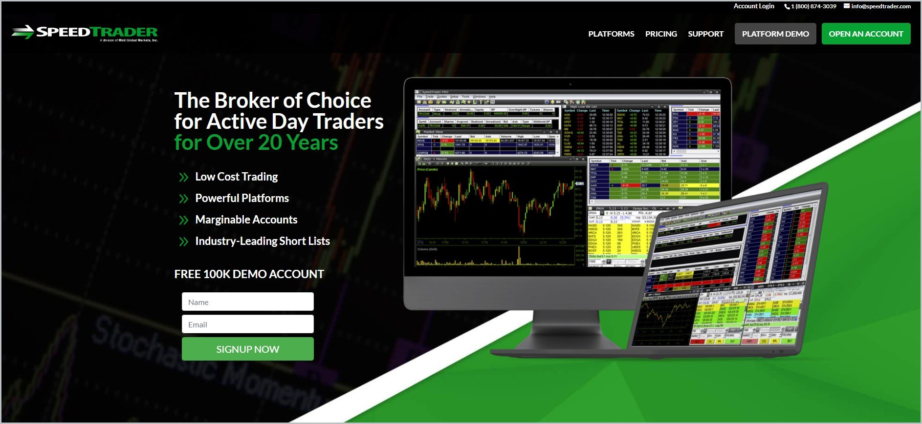 screenshot of SpeedTrader homepage showcasing an image of one of their trading platforms