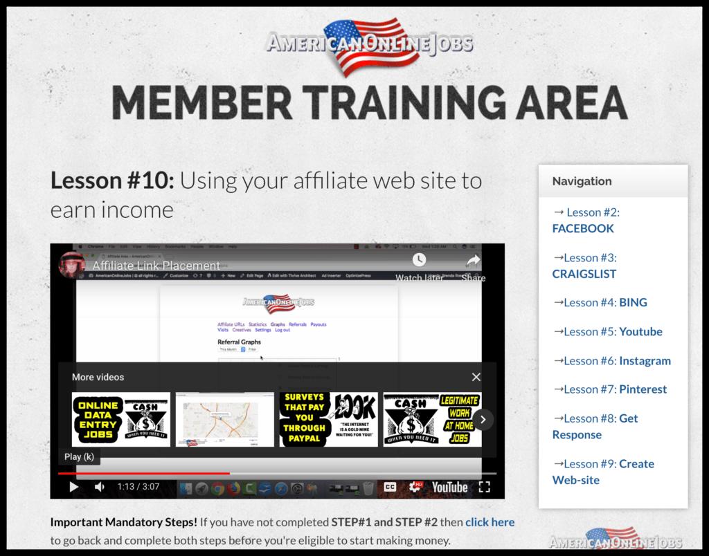 american online jobs training area