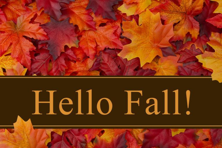This image is a photo of red and orange maple leaves behind a brown banner with gold lettering that reads 'Hello Fall,' representing the best autumn affiliate programs.