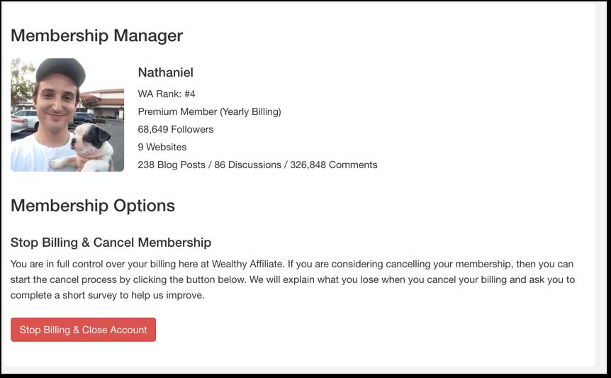 cancel wealthy affiliate membership screenshot