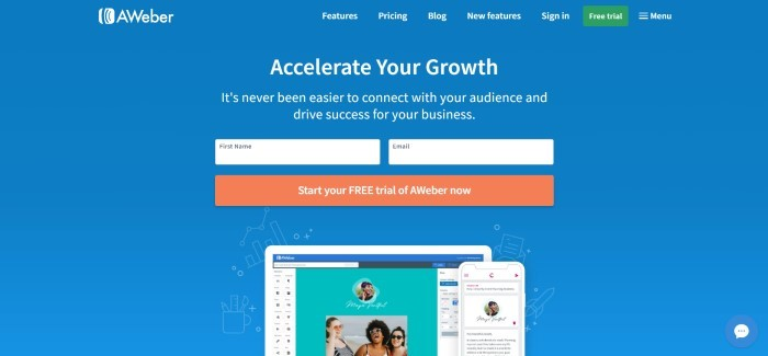 This screenshot of the home page for AWeber has a blue background and an opt-in section with an orange call-to-action button, along with white text inviting customers to accelerate their growth.