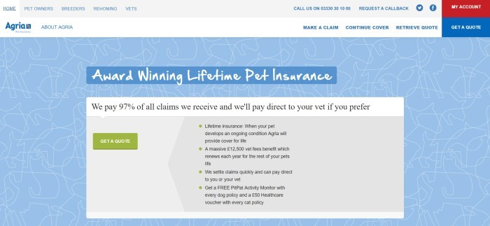 This screenshot of the home page for Agria has a blue background with white outlines of dogs, cats, and rabbits, along with white text announcing Agria's award-winning pet insurance and an invitation in a white box with a green call-to-action button for requesting a quote.