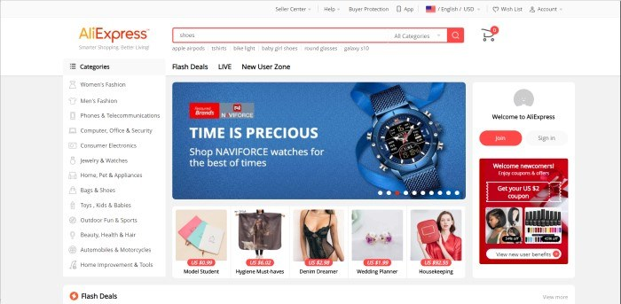 This screenshot of the home page for AliExpress has a white background, with shopping categories such as fashion, electronics, and outdoors running down the left side of the page, while the middle of the page contains product photos and advertisements for those products, and the right side contains a box for getting coupons and an opt-in window for registering an account with AliExpress.