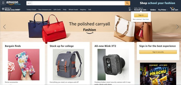 This screenshot of the home page for Amazon has a black header with the Amazon logo and sign-in link, above a mostly beige background with white boxes containing photos and advertising copy for a variety of different products on Amazon, including a purse called 'The polished carryall.'