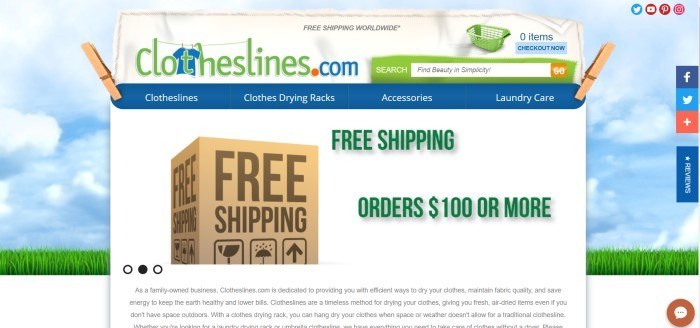 This screenshot of the home page for Clothesline shows a graphic background of a blue summer sky and white grass, behind a white cloth hanging from clothespins, which has a photo of a shipping box near words in green lettering announcing free shipping on orders of $100 or more.