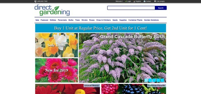 This screenshot of the home page for Direct Gardening has a white background, a blue sales bar, and photos of purple, yellow, and red flowers with white promotional text.