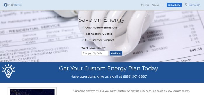 This screenshot of the home page for Eligo Energy has a light blue header above a closeup of an electric bill, along with black text advertising the ability to save on energy, which is above a dark blue footer with white lettering inviting people to get their energy-saving plan right away.