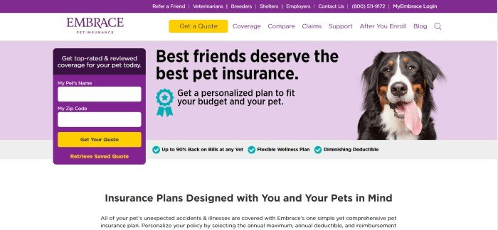 This screenshot of the home page for Embrace Pet Insurance has a purple background, a purple opt-in box with a gold call-to-action button, and a photo of a black, brown, and white dog next to black text describing how best pets deserve the best pet insurance.