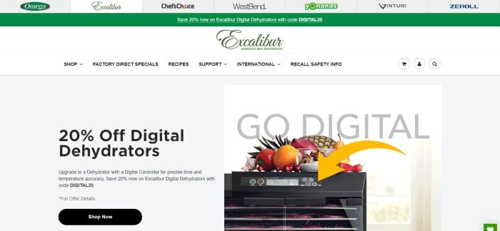 This screenshot of the home page for Excalibur has a white background, a gray section on the left advertising digital dehydrators, and a photo of a digital dehydrator on the right.