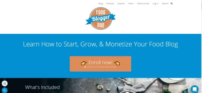 This screenshot of the home page for Food Blogger Pro has a white header with the orange and blue logo centered in the middle, above a blue section with an orange call-to-action button and white text inviting customers to learn how make a business from their food blog.