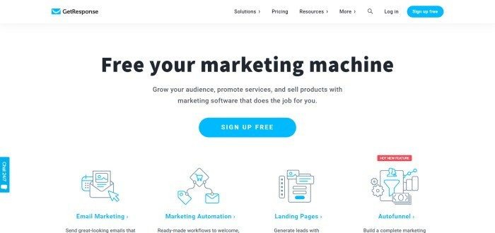 This screenshot of the home page for GetResponse has a white background with blue and black text inviting customers to free their marketing machines and showing graphics for tools like email automation, marketing automation, and funnels.
