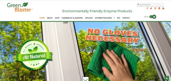 This screenshot of the home page for Green Blaster shows a woman's hand wiping windows with a green cloth, near orange lettering that reads 'No gloves necessary' and a round seal graphic announcing Green Blaster's all natural products.
