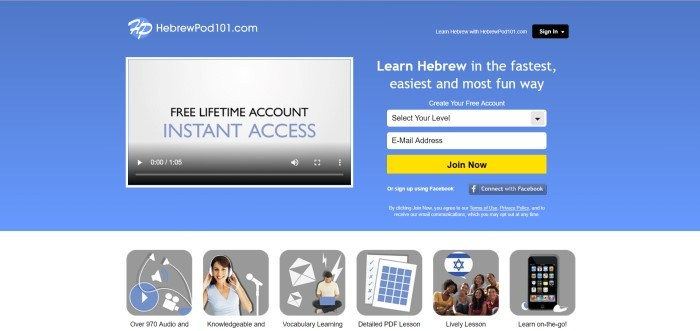 This screenshot of the home page for HebrewPod101 has a blue background, a video box where customers can watch a video about why they should sign up for a free account, and an opt-in area on the right with a yellow call-to-action button.