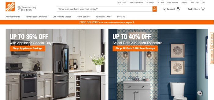 This screenshot of the home page for Home Depot shows a picture of a kitchen on the left side of the page, with an advertisement for 25% off on appliances, and a photo of a bathroom in blue and white on the right side of the page, with an advertisement for 40% off bath and kitchen essentials.