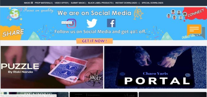 This screenshot of the home page for Jassher Magic Shop shows a blue banner with multicolored graphic accents announcing a 40% shopping discount for following this store on social media, above two columns of photographs of specific magic tricks, including 'Portal' and 'Puzzle.'
