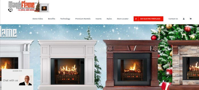 This screenshot of the home page for MagikFlame shows two white fireplaces and a brown fireplace in front of a background of blue and white snow, with a Christmas tree on the far right.