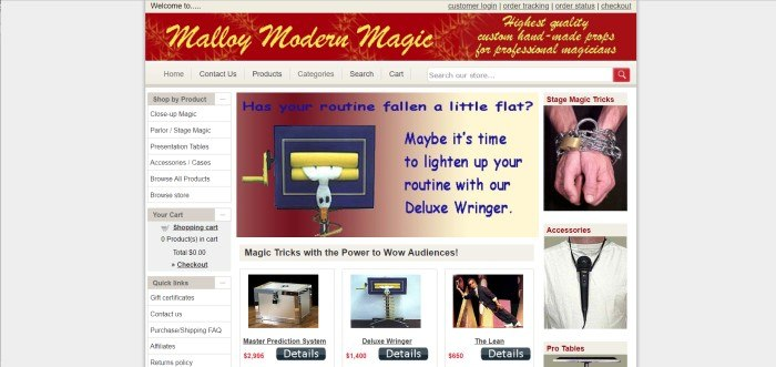 This screenshot of the home page for Malloy Modern Magic shows a brownish red header with the words 'Malloy Modern Magic' in yellow italicized writing at the top of the page, and below it, a product page with a white background and pictures with text for types of products, such as tables, stage magic, and specific magic tricks, including one large photo of a prop called the deluxe wringer.