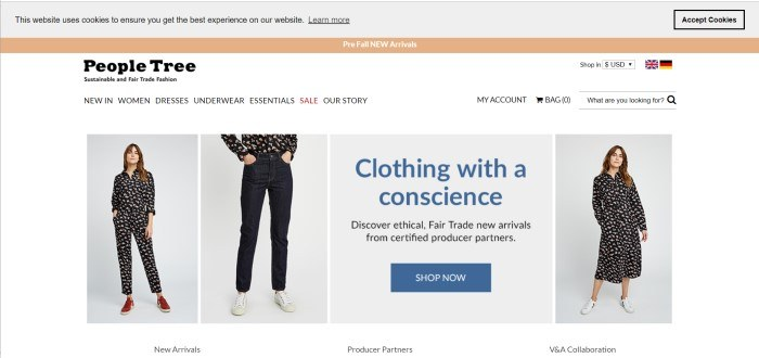 This screenshot of the home page for People Tree shows a row of photos of a woman in a dark printed jumpsuit, then in jeans with a dark printed shirt, and then in dress made of the same dark printed material, with an advertisement for clothing with a conscience through purchasing People Tree's sustainable and Fair Trade fashions.