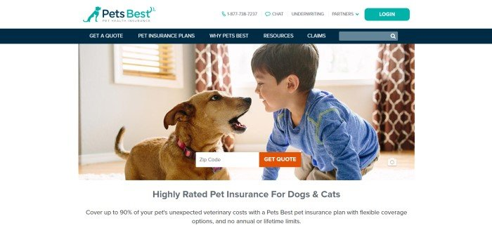 This screenshot of the home page for Pets Best has a white background with a photo of a dark-haired boy in blue shirt playing with a golden puppy in a living room in front of a window with brown curtains.