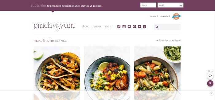 This screenshot of the home page for Pinch of Yum has a white background with a row of pictures showing various dinner dishes that are featured on the blog, under a phrase in purple and black reading 'Make this for dinner.'