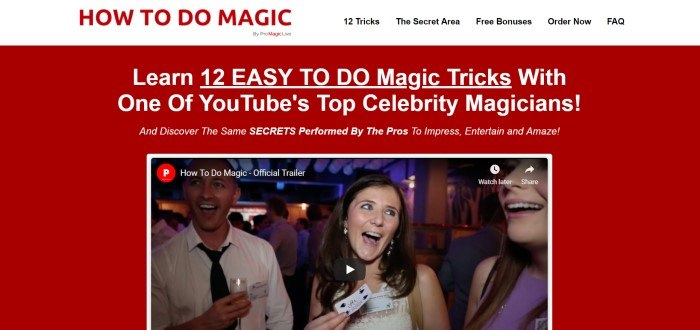 This screenshot of the home page for Pro Magic Live contains a white header with red text reading 'How to do magic' above a red page with white text and a video clip containing a woman and two men, inviting shoppers to learn 12 magic tricks from top YouTube magicians.