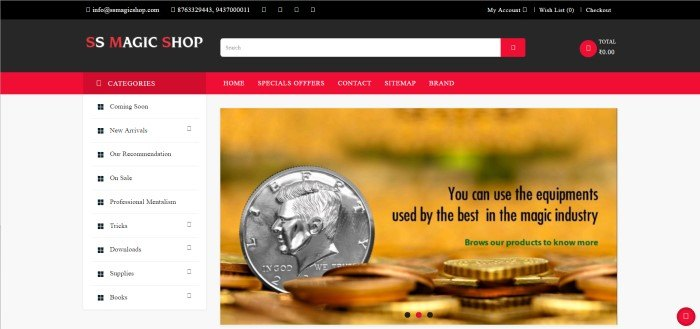 This screenshot of the home page for SS Magic has a black header with red accents and white text above a page with a white background and shopping categories listed in black text along the left side, next two a photography of silver and gold coins with black text across the top inviting shoppers to browse the magic props inventory carried by this store.