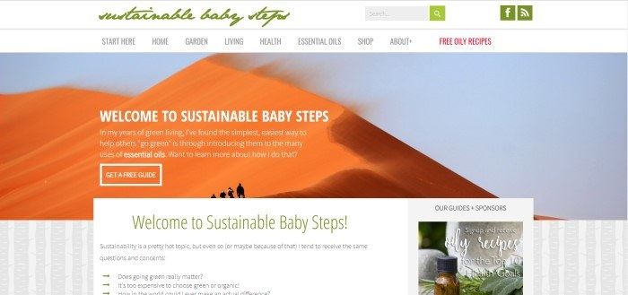 This screenshot of the home page for Sustainable Baby Steps shows a photo of orange sand dunes against a blue sky, above a tan and white striped background and a white text box, with sentences in the photo area and text box area that explain how Sustainable Baby Steps hopes to help people to 'go green.'