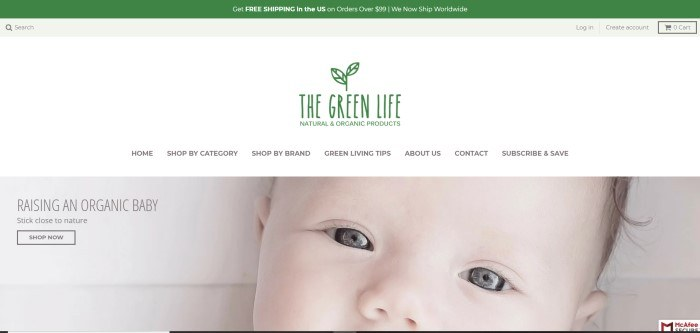 This screenshot of the home page of The Green Life has a wide white header with black text above a closeup photo of a baby's eyes, along with black text that reads 'Raising an organic baby: stick close to nature.'