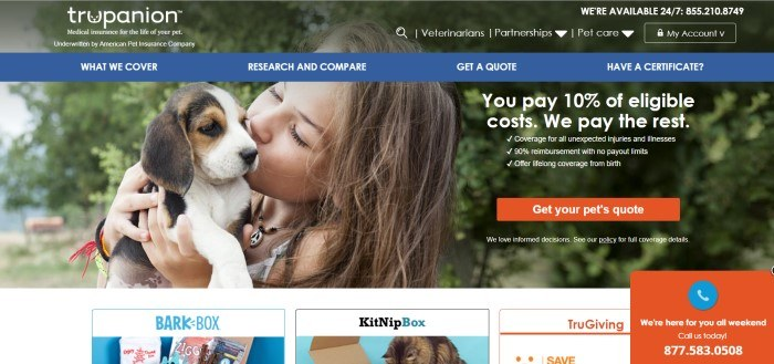 This screenshot of the home page for Trupanion shows a girl kissing a brown and white puppy in front of a tree, along with white text advertising Trupanion benefits and a red call-to-action button for an insurance quote.