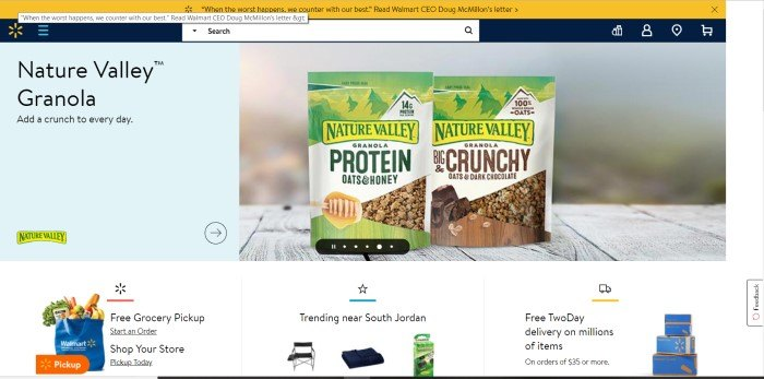 This screenshot of the home page for Walmart shows the logo in the upper left corner, above a light blue section with a photo of Nature Valley Granola and an advertisement for it, and below that, three sections with black text advertising free two-day shipping, trending items, and free grocery pickup.