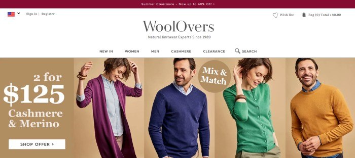 This screenshot of the home page fore WoolOvers has white background above a tan section showing a row of models in various sweaters, next to an advertisement in white text for cashmere and merino sweaters.