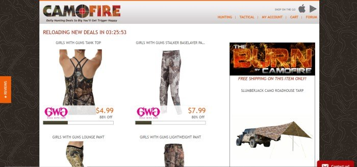 This screenshot of the home page for Camofire shows a black background with a white section showing foru pieces of camouflage apparel for women as the deals of the day.