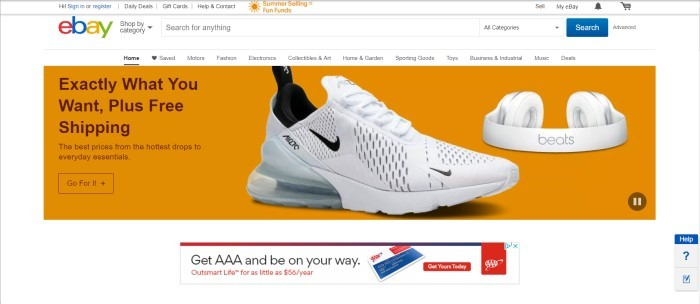 This screenshot of the home page for eBay has a white background, an eBay logo in the upper left corner, and an orange section in the middle of the page featuring a photo of white and black Nike shoes, with black text reading 'Exactly what you want, plus free shipping.'