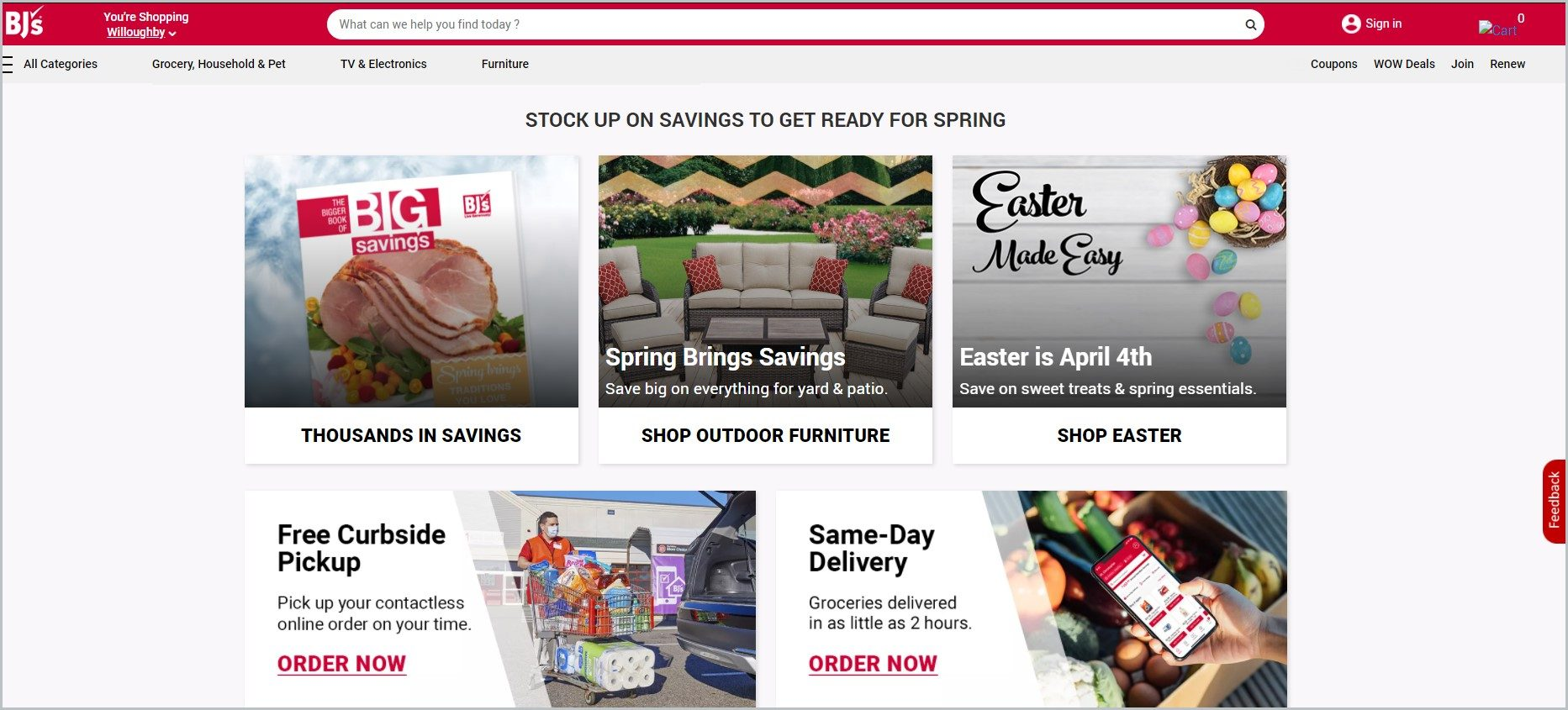 screenshot of BJs Wholesale Club homepage with red header bearing the website's name and search bar, it showcases images of the website's products