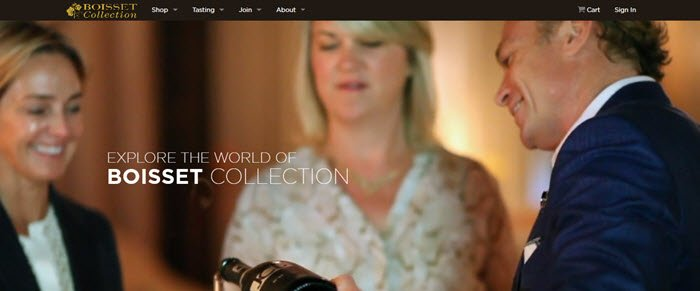 Boisset Collection website screenshot showing a trio of well dressed people