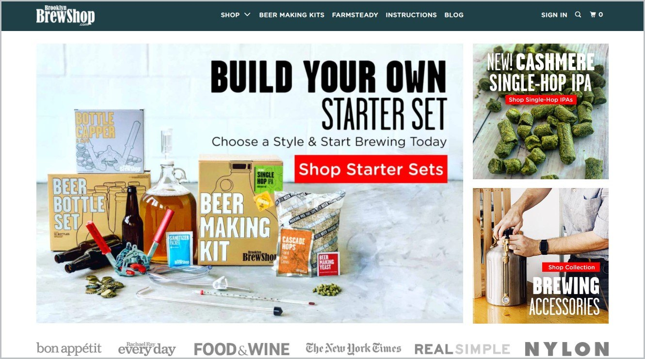 screenshot of Brooklyn Brew Shop homepage with a dark blue-green header bearing the website's name and main navigation menu with pictures of their beer making kits for the main image
