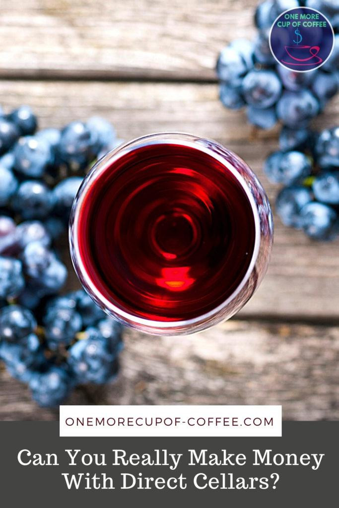 top view image of red wine in wine glass with grapes around it, with text at the bottom