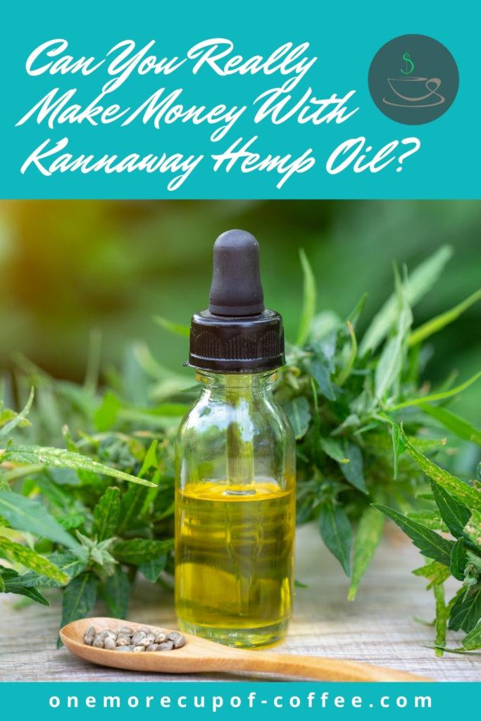 """a wooden spoon with dried seeds in front of a glass bottle with dropper and CBD oil in it, with cannabis leaves at the back; with text overlay """"Can You Really Make Money With Kannaway Hemp Oil?"""""""