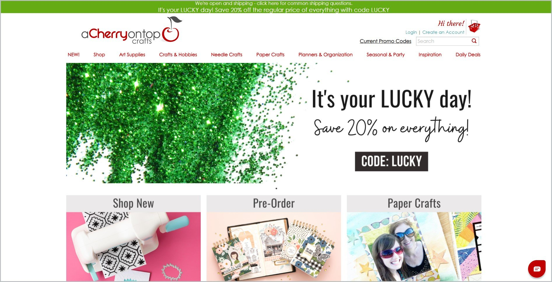 screenshot of Cherry On Top Crafts homepage, with green announcement bar, white header with the website's name and main navigation menu, it also showcases some of their products