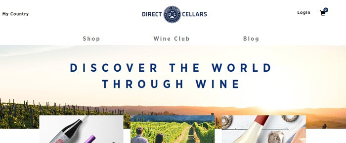 Direct Cellars website screenshot showing vineyards and text
