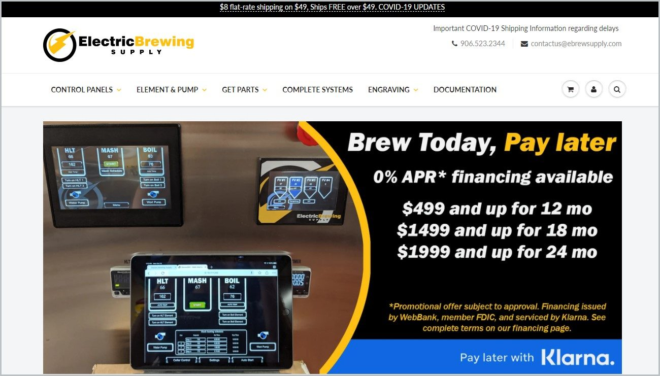 screenshot of Electric Brewing Supply homepage with a white header containing the website's name and main navigation menu, showcasing images of some of their products