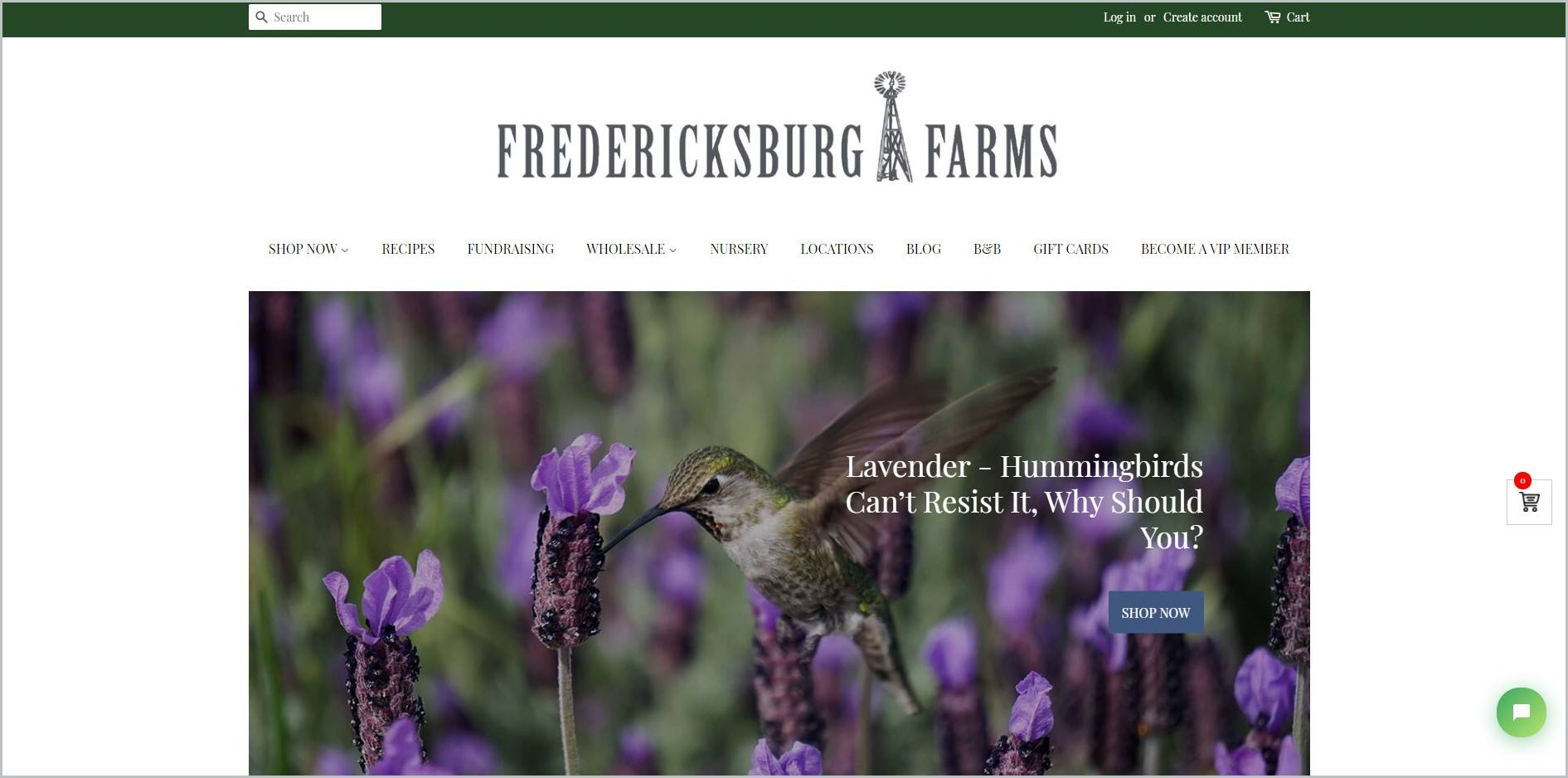screenshot of Fredericksburg Farms homepage with white header bearing the website's name, showcasing a closeup image of field with lavender-colored flowers and a bird pecking at one of the flowers