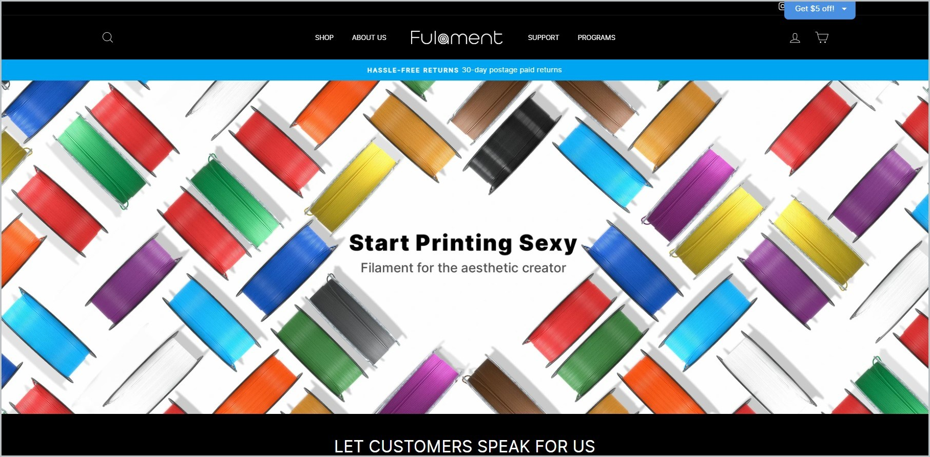 screenshot of Fulament homepage showcasing filaments of different colors