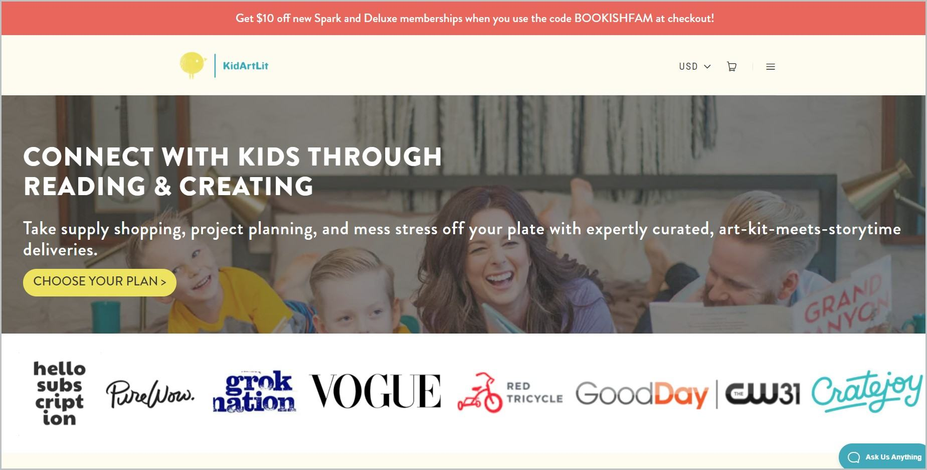screenshot of KidArtLit homepage with red announcement bar, white header with website's name and main navigation menu, showcasing a picture of kids and parents for main image