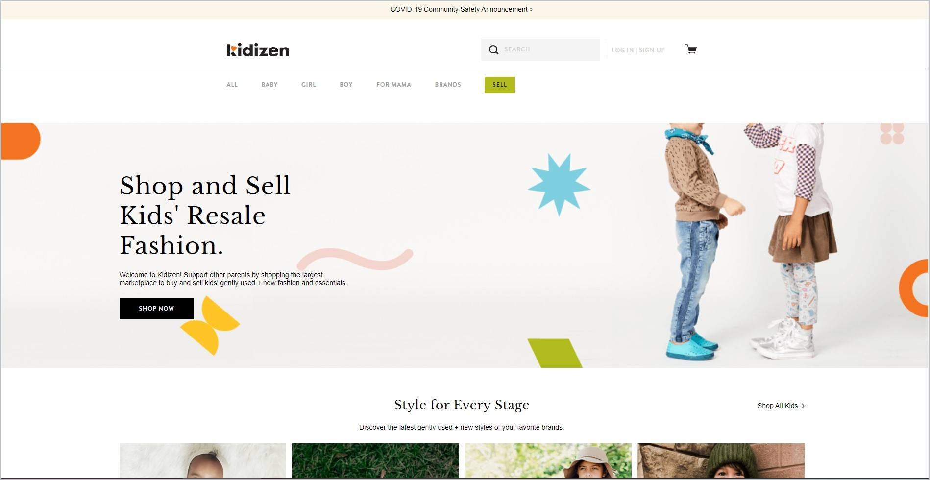 screenshot of Kidizen homepage, with beige announcement bar, white header bearing the website's name and main navigation menu, showcasing 2 kids in outfit