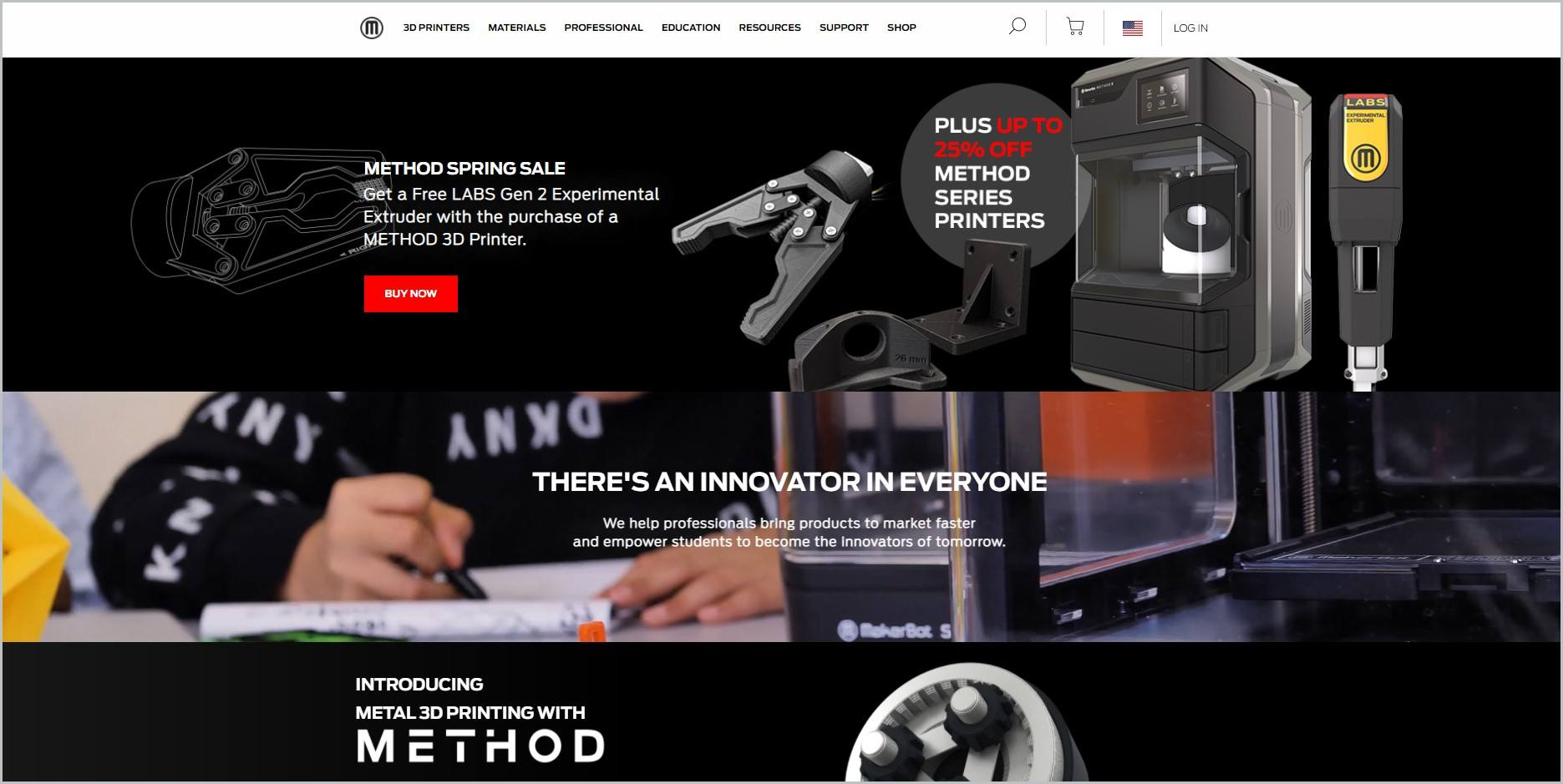 screenshot of MakerBot homepage showcasing some of its products
