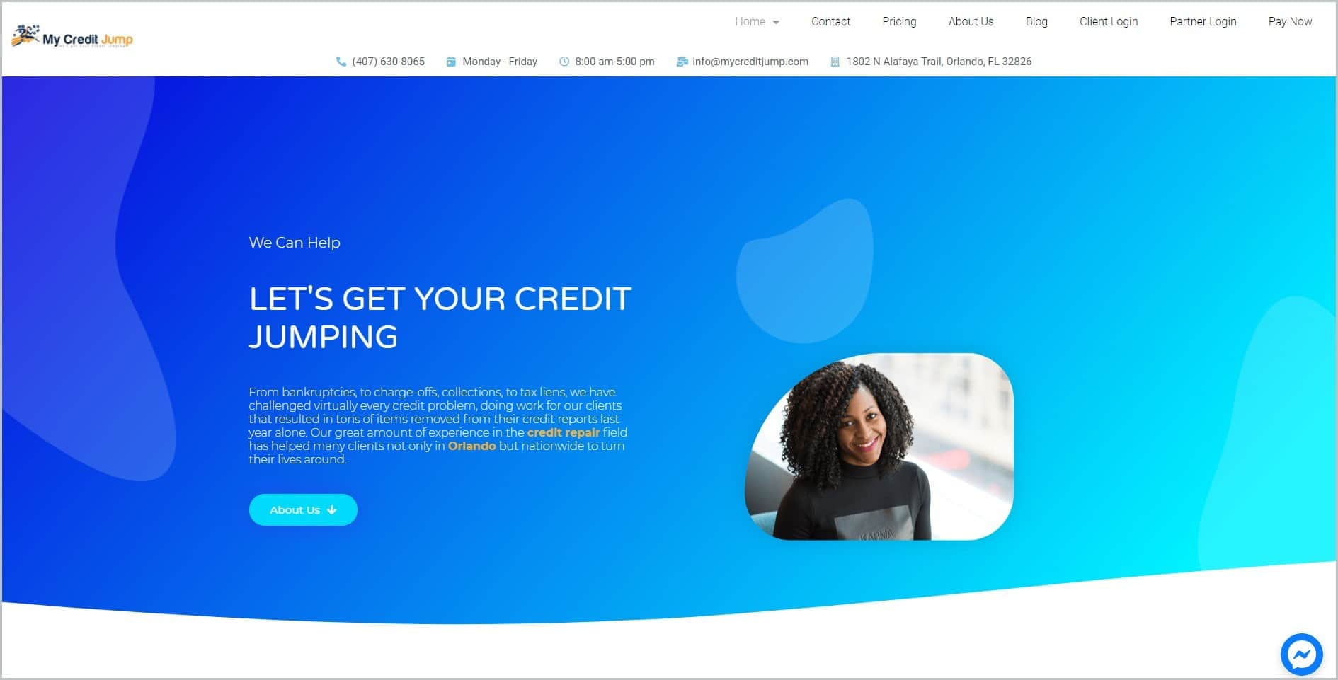 screenshot of My Credit Jump homepage with white header bearing the website's name and main navigation menu, showcasing an image of a smiling black woman against a blue background