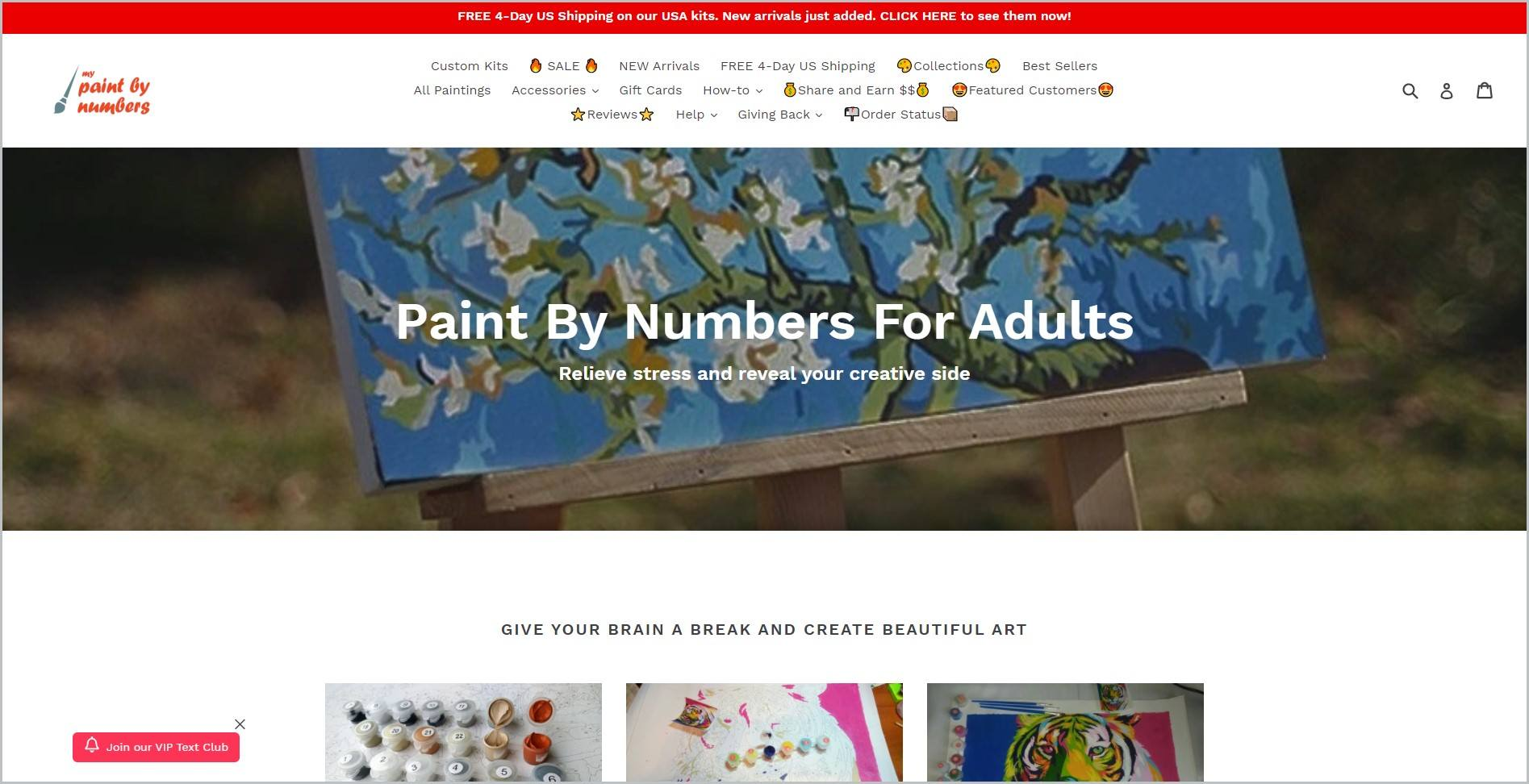 screenshot of My Paint by Numbers homepage with red announcement bar, white header with the website's name and main navigation menu, it also showcase one of their products