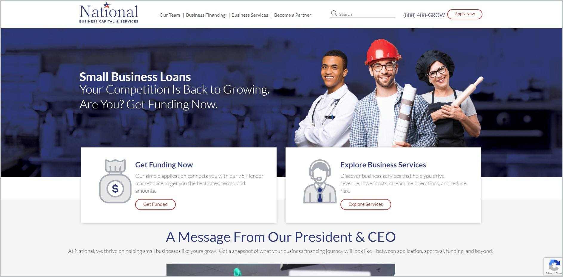screenshot of National Business Capital homepage with white header bearing the website's name and main navigation menu, also showcasing an image showing a doctor, an engineer, and a baker